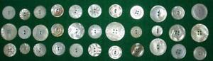 33 Vintage Heavily CARVED Creamy White Mother of Pearl BUTTONS Some Mates PRETTY