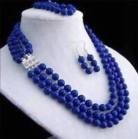 New 8mm 3rows blue lapis lazuli round beads necklace bracelet earring sets