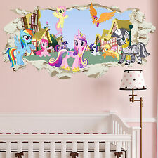 Beautiful My Little Pony Smashed Wall Crack Kids Boy Bedroom Decal Art Sticker Gift  New Part 6
