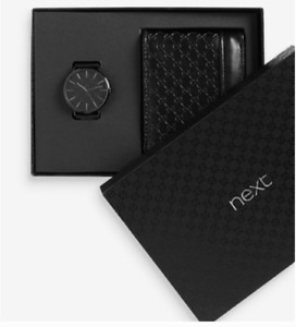 MENS WATCH + BLACK WALLET GIFTSET BY NEXT RRP 45 BRAND NEW SEALED FOR HIM FATHER