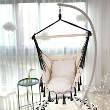 Indoor/Outdoor Hanging Rope Hammock Chair Swing Bed -2 Seat Cushions Included US