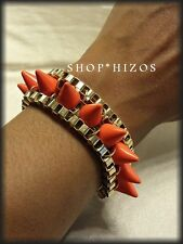 PINK or WHITE or ORANGE ACRYLIC SPIKE CHAIN LINK GOLD BRACELET  NEW