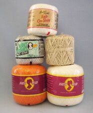 Crochet Thread Lot Of 5 White Orange Silver Gold 4 New And 1 Used  New