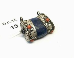 Tibetan Repousse Vintage Lapis Lazuli Focal Pendant with Red Accents