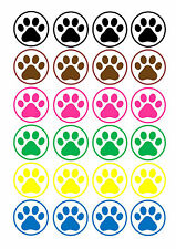 24 Edible cake toppers wafer rice paper cute colourful dog paw prints