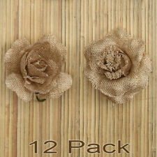 12 Burlap Rose Heads Rustic Flower Vintage Wedding Handmade DIY Jute Decoration