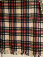 Vtg Lilliputian Bazaar Best & Co Wool Stadium Blanket Fringe Tartan Plaid