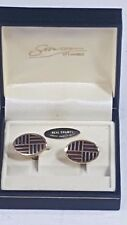 Stratton of London Cufflinks Boxed Oval Enamelled Blue & Brown on Gold No23