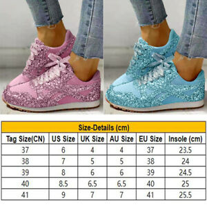 Women Sports Sparkly Shiny Trainers Sneakers Lace Up Ladies Casual Shoes Size UK