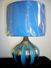 NEW Blue Shade With Chrome Table Lamp Ceramic Bedroom Lounge Bedside Desk Light