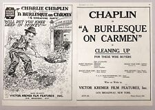 "1919 Charlie Chaplin ""A Burlesque on Carmen"" Trade Magazine Movie Ad"