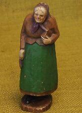 "Vintage Carved and Painted Jewish Rabbi Wife / Woman Judaica Figurine 5.5"" Tall"