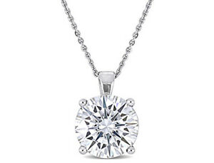 Amour Created White Moissanite Solitaire Pendant with Chain in 14k White Gold