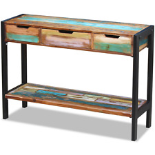 Handmade Console Table Sideboard 3 Drawers Solid Reclaimed Wood Hallway Steel