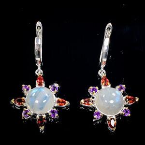 Moonstone Earrings Silver 925 Sterling Handmade  /E38442