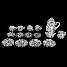 15pcs Daisy Pattern 1:12 Doll House Miniature Coffee Tea Cup Pot Saucers Set