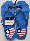 American Patriotic Flip Flops July 4th Size M(Medium)(7/8) LOVE, HEART USA, blue