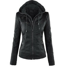 Damen Winterjacke PU Leder Jacke Biker Kapuze Winter Kapuzen Coat Outwear Warm