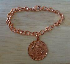 """8"""" Copper 22mm Engravable Medical Alert Charm on Bracelet"""