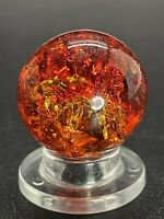 "Vitro Marble UV Active FIRERY RED Crackle Glass Marble Shooter size 0.748""Mint"