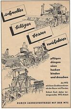 ÜÜ283 WERBUNG AUS ZEITSCHRIFTEN  DDR 1954 - MTS TRAKTOR MÄHDRESCHE TECHNIK PFLUG