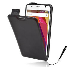 Black Leather Flip Card wallet Case Cover Telstra ZTE Slim Plus / ZTE Blade L5 +