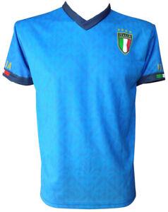 Maglia Italia Neutra Scudetto Replica Nazionale Maglietta Azzurra Bambino Adulto