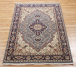 4x6 ft Indian Handmade Area Rugs All Over Hand Knotted Wool Traditional Carpet