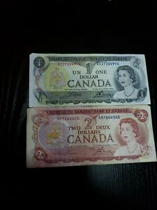 🇨🇦 Canada 1 dollar 1973 P-85  & 2 dollars 1974  P-86 Currency Banknote  (C)