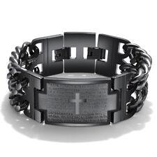 Heavy Biker Mens Black Stainless Steel Bible Cross Wrist Chain Bracelet Bangle
