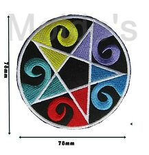 Pentagram Wiccan Badge Patch Embroidered Sew Bright Iron on Motif Applique 212