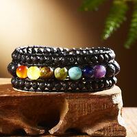 7 Chakra Volcanic Stone Lava Healing Bracelet Retro Beaded Bangle Women Jewelry