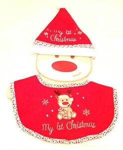 Cute Baby Christmas Hat and Bib Brand New 0 Mths + New