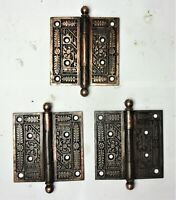 "3 Ornate Antique Eastlake Victorian Cannon Ball Pin Door Hinges 4"" x 4"""