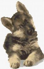"Cute Alsatian Brown Puppy Dog - Cross Stitch Kit 7"" x 11"", 14 Count Aida, Anchor"