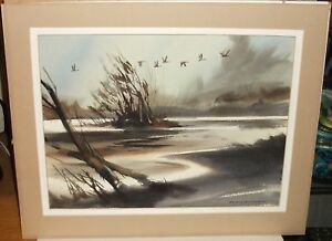 """DONALD B. WILLIAMS """"UP THE CREEK"""" SEASCAPE MARSHLAND BIRDS WATERCOLOR PAINTING"""