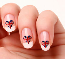 20 Nail Art Decals Transfers Stickers #356 - England Flag Heart