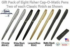 Fisher Space Pens #CGBM2 / 8 Cap-O-Matic Ballpoint Pens - 2 of Each Finish