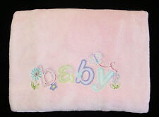 Just Born Pink Baby Blanket Butterfly Flowers Soft Fluffy