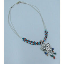 .925 Sterling Silver REAL Sleeping Beauty Turquoise Italian Coral Cross Necklace