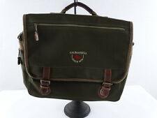 G.H. BASS Army Green Brown Leather Accents Messenger Laptop Bag Tote Briefcase