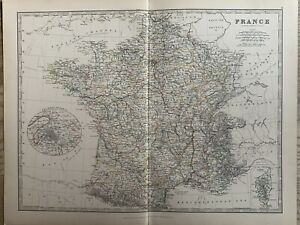 1886 FRANCE ORIGINAL ANTIQUE HAND COLOURED MAP BY JOHNSTON 134 YEARS OLD
