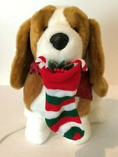 Santas Best Vintage Animated Dog with Stocking Christmas Holiday Decoration