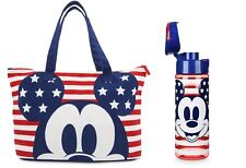NEW SET - Mickey Mouse Americana Foldable Tote Bag With Matching Water Bottle !