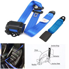 Classic Car Parts 3 Point Automatic Lap & Diagonal Seat Belt Kit Blue Adjustable
