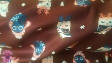 Burgundy Owls Cotton Flannel Fabric By The Yard