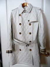 Burberry White Trench 10 Quilted Jacket Coat Belt Nova Check Long