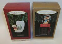 2 Hallmark Keepsake Christmas Ornaments Recorders Cassette Player & Telephone