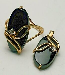 ESTATE 10K YELLOW GOLD DIAMOND & ONYX DEMI-PARURE PENDANT & RING-417 PSCO