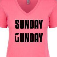 Sunday Gunday Women's V-Neck T-Shirt NRA 2nd Amendment Hunting Shooting Pro Gun
